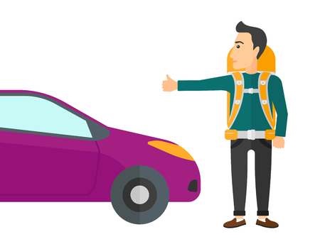 A traveler hitchhiking trying to stop a car vector flat design illustration isolated on white background.