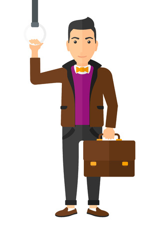 handgrip: A man with a suitcase standing inside a train vector flat design illustration isolated on white background.