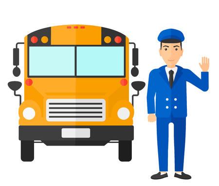 driving school: A driver standing in front of school bus vector flat design illustration isolated on white background.