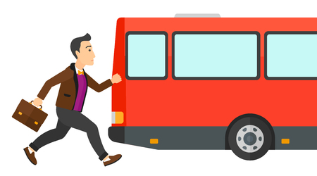 Latecomer man running along the sidewalk to reach the bus vector flat design illustration isolated on white background. Ilustracja
