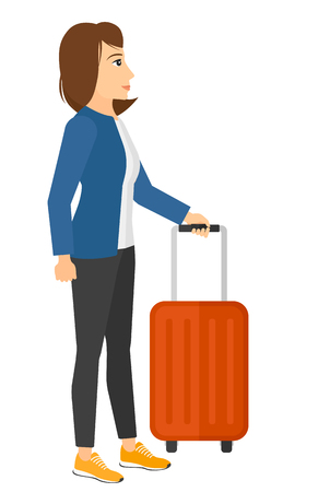 manager: A woman standing with a suitcase vector flat design illustration isolated on white background.