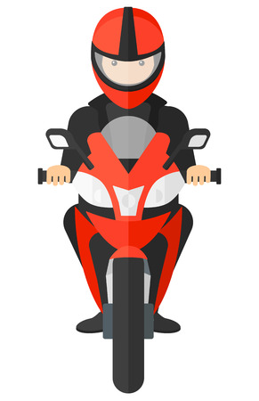A man riding a motorcycle vector flat design illustration isolated on white background. Stock Illustratie