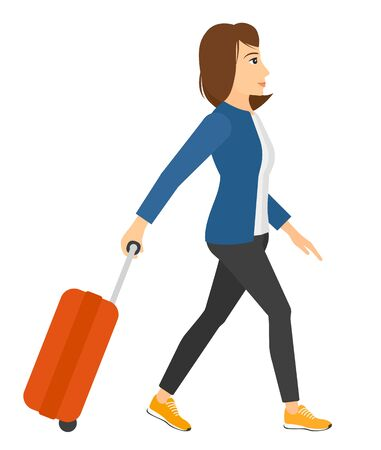 A woman walking with a suitcase vector flat design illustration isolated on white background. Illustration