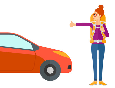 wanderer: A traveler hitchhiking trying to stop a car vector flat design illustration isolated on white background.