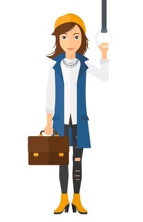 handgrip: A woman with a suitcase standing inside a train vector flat design illustration isolated on white background. Illustration