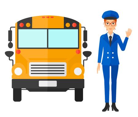 Un controlador de pie en frente del autobús vector de la escuela ilustración diseño plano aislado en el fondo blanco.