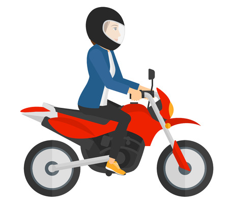 A woman riding a motorcycle vector flat design illustration isolated on white background.