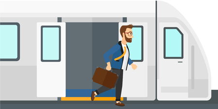 A man going out of the train vector flat design illustration isolated on white background. Illustration