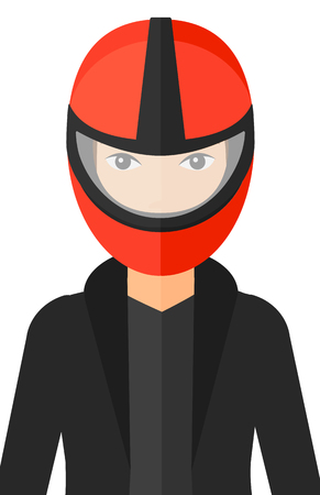 A woman in biker helmet vector flat design illustration isolated on white background. Vectores