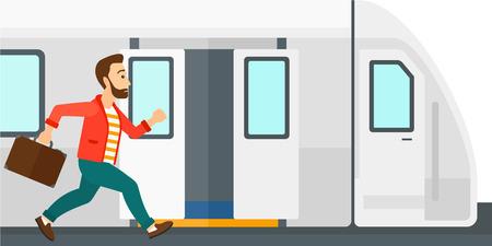 hombre recién llegado corriendo a lo largo de la plataforma para llegar a la ilustración de diseño plano tren vector aislado en el fondo blanco.