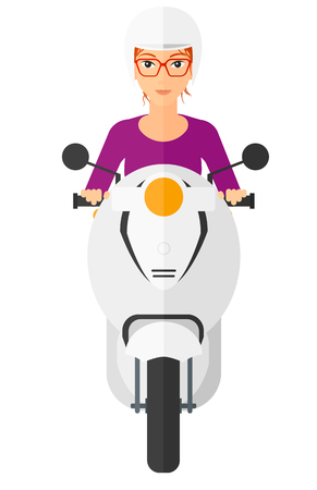 woman girl: A woman riding a scooter vector flat design illustration isolated on white background. Illustration