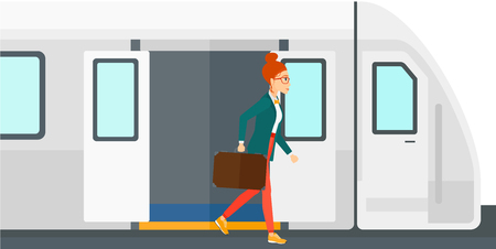A woman going out of the train vector flat design illustration isolated on white background.