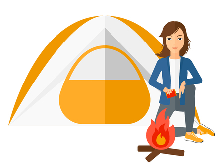 kindle: A woman kindling a fire in camp vector flat design illustration isolated on white background.