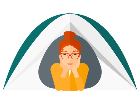 crawling: A woman crawling out from a tent vector flat design illustration isolated on white background.