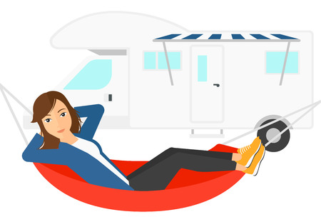 lying in: A woman lying in a hammock in front of motor home vector flat design illustration isolated on white background. Illustration