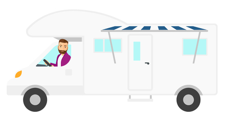 motor home: A hipster man with the beard driving a motor home vector flat design illustration isolated on white background.