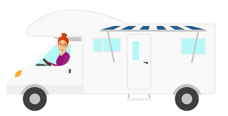 motor home: A woman driving a motor home vector flat design illustration isolated on white background.