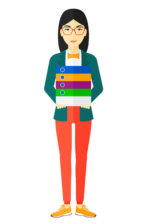 An asian woman standing with pile of folders vector flat design illustration isolated on white background.