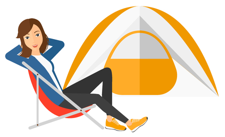 campsite: A woman sitting in a folding chair at campsite vector flat design illustration isolated on white background.