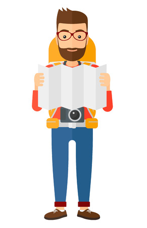 A backpacker with a camera looking at a map vector flat design illustration isolated on white background.