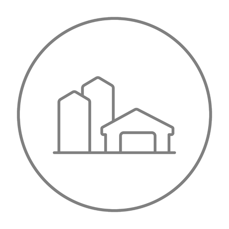 granary: Farm buildings line icon for web, mobile and infographics. Vector grey thin line icon in the circle isolated on white background. Illustration