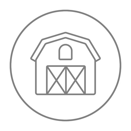 Farm building line icon for web, mobile and infographics. Vector grey thin line icon in the circle isolated on white background. Illusztráció