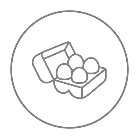 Eggs in a carton package line icon for web, mobile and infographics. Vector grey thin line icon in the circle isolated on white background.