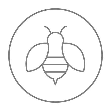 Icono de línea de abeja para web, móvil e infografía. Vector el icono de la delgada línea gris en el círculo aislado sobre fondo blanco. Ilustración de vector