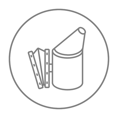 Bee hive smoker line icon for web, mobile and infographics. Vector grey thin line icon in the circle isolated on white background.