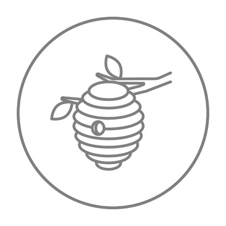 Bee hive line icon for web, mobile and infographics. Vector grey thin line icon in the circle isolated on white background.
