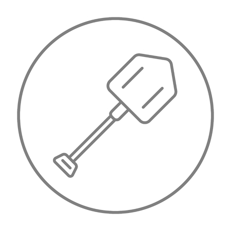 Shovel line icon for web, mobile and infographics. Vector grey thin line icon in the circle isolated on white background.