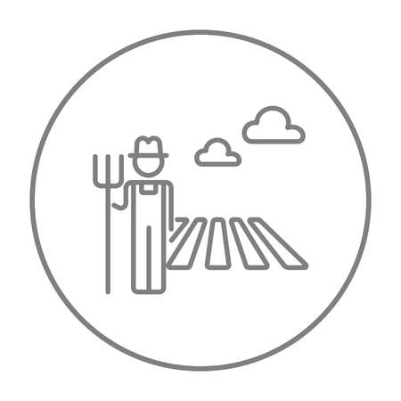 standing in line: Farmer with pitchfork standing on the field line icon for web, mobile and infographics. Vector grey thin line icon in the circle isolated on white background.
