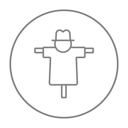 horrific: Scarecrow line icon for web, mobile and infographics. Vector grey thin line icon in the circle isolated on white background.