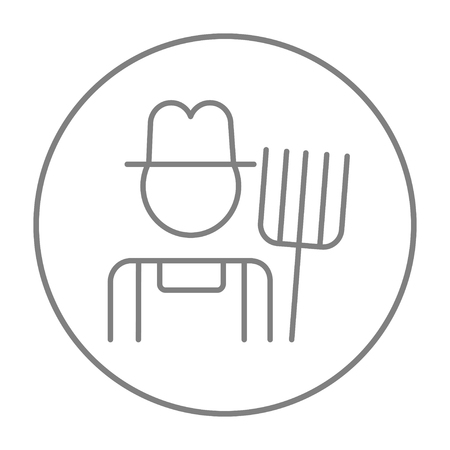 grower: Farmer with pitchfork line icon for web, mobile and infographics. Vector grey thin line icon in the circle isolated on white background.