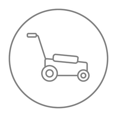 garden maintenance: Lawnmover line icon for web, mobile and infographics. Vector grey thin line icon in the circle isolated on white background.