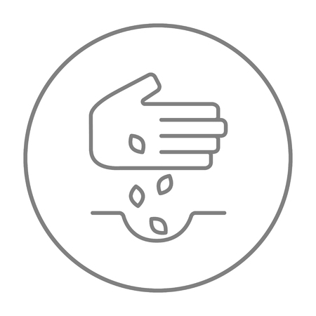 Hand planting seeds in the ground line icon for web, mobile and infographics. Vector grey thin line icon in the circle isolated on white background.