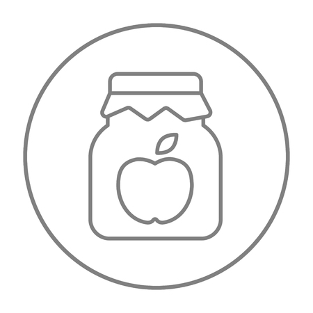 jam jar: Apple jam jar line icon for web, mobile and infographics. Vector grey thin line icon in the circle isolated on white background. Illustration
