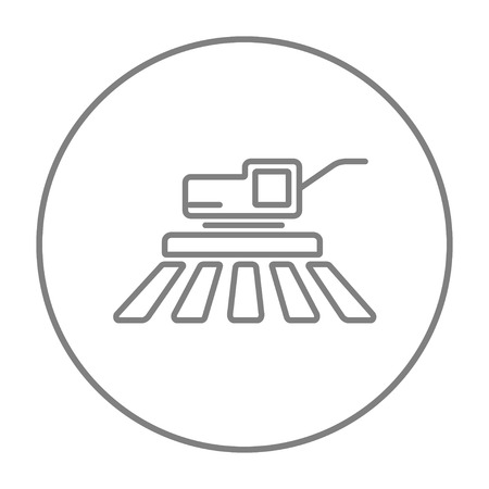 combine harvester: Combine harvester line icon for web, mobile and infographics. Vector grey thin line icon in the circle isolated on white background.