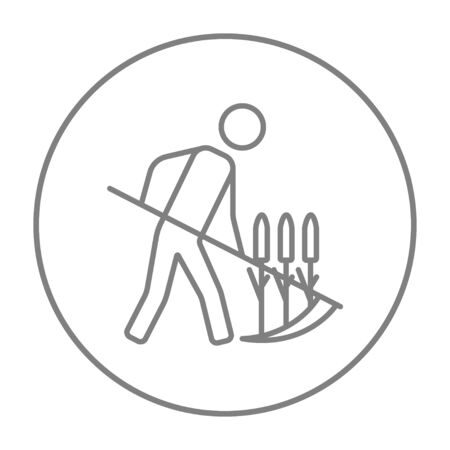 mowing grass: Man mowing grass with a scythe line icon for web, mobile and infographics. Vector grey thin line icon in the circle isolated on white background. Illustration