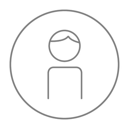 single man: Businessman line icon for web, mobile and infographics. Vector grey thin line icon in the circle isolated on white background.