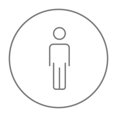 standing in line: Businessman standing  line icon for web, mobile and infographics. Vector grey thin line icon in the circle isolated on white background. Illustration