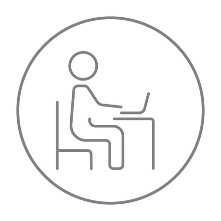 laptop icon: Businessman working at his laptop line icon for web, mobile and infographics. Vector grey thin line icon in the circle isolated on white background.