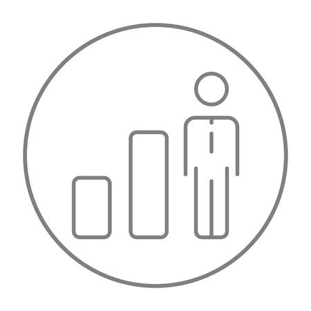 Businessman standing next to bar chart line icon for web, mobile and infographics. Vector grey thin line icon in the circle isolated on white background.