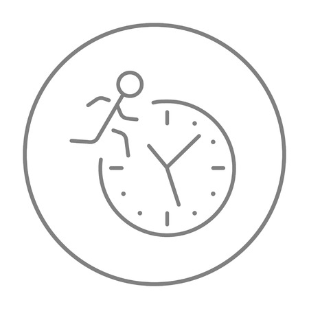Man running on clock background line icon for web, mobile and infographics. Vector grey thin line icon in the circle isolated on white background. Ilustração