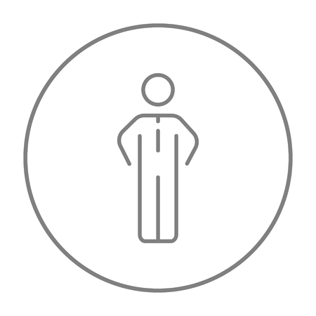 standing in line: Businessman standing line icon for web, mobile and infographics. Vector grey thin line icon in the circle isolated on white background.