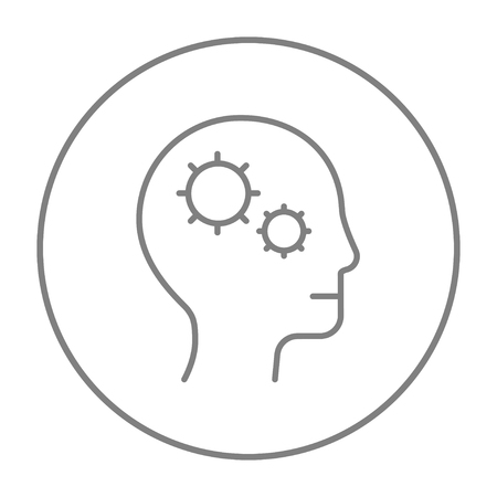 learning icon: Human head with gear line icon for web, mobile and infographics. Vector grey thin line icon in the circle isolated on white background.