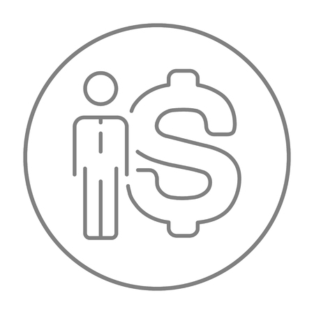 price gain: Businessman standing beside the dollar symbol line icon for web, mobile and infographics. Vector grey thin line icon in the circle isolated on white background.