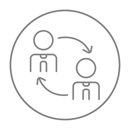 turnover: Staff turnover line icon for web, mobile and infographics. Vector grey thin line icon in the circle isolated on white background.