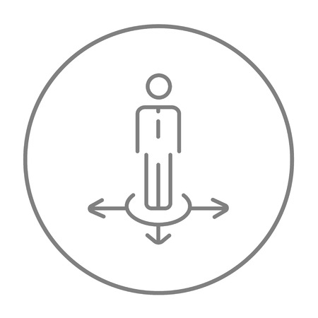 hesitate: A businessman standing on three alternative ways line icon for web, mobile and infographics. Vector grey thin line icon in the circle isolated on white background.