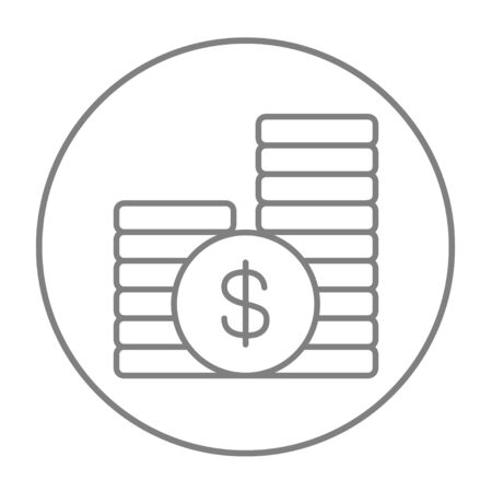 dime: Dollar coins line icon for web, mobile and infographics. Vector grey thin line icon in the circle isolated on white background.